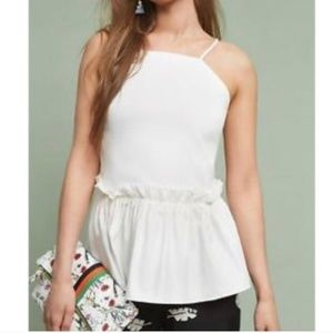 Anthropologie Maeve White Peplum Top